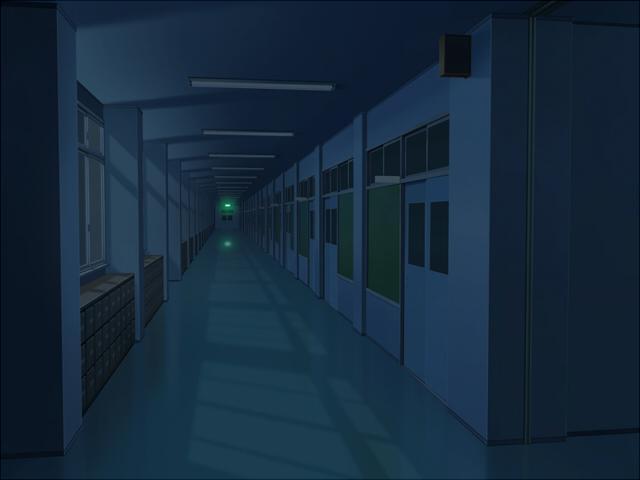 学校の廊下(深夜くもり)